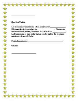 Spanish Parent Teacher Conference Note to Parents