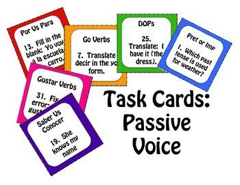 Spanish Passive Voice Task Cards