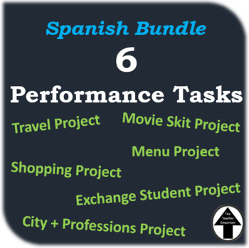 Spanish Performance Task Bundle of 6 Projects Level 1 + 2