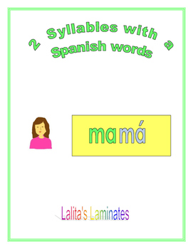 Spanish Phonics 2 syllable a word cards