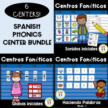 Spanish Phonics Center BUNDLE!  6 for the price of 5!