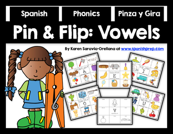 Spanish Pin and Flip Phonics: Vowels FREEBIE