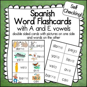 Spanish Picture Word Cards with A and E - Palabras con A y E