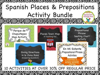 Spanish Places & Prepositions Activity Bundle