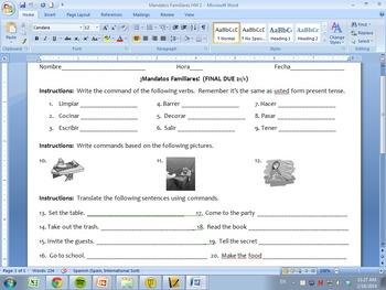 Spanish Mandatos Familiares Homework Pack