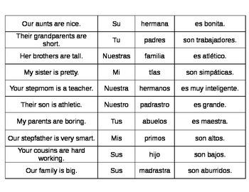 Spanish Possessive Adjectives Puzzle