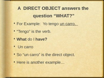 Spanish PowerPoint- Introduction to DIRECT OBJECTS (Part 1
