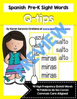 Spanish Sight Words Q-Tips Printables (Pre-Primer)