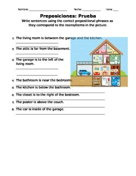 Spanish Prepositions and House Vocabulary