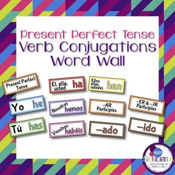 Spanish Present Perfect Tense Verb Conjugations Word Wall