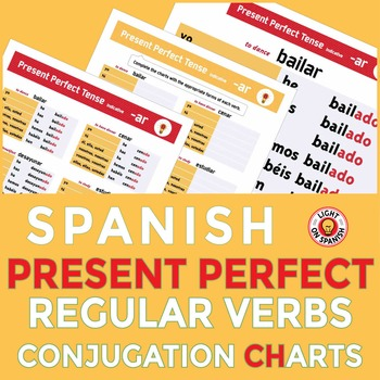 Spanish Present Perfect Conjugation Charts + Blank Charts