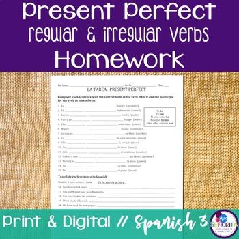 Spanish Present Perfect Regular & Irregular Verbs Homework