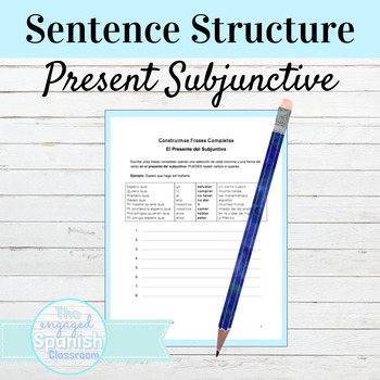 Spanish Present Subjunctive: Sentence Building worksheet w