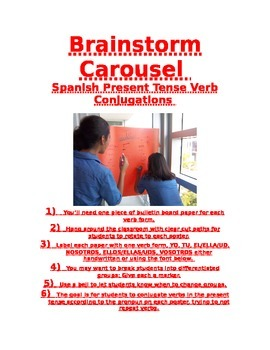 Spanish Present Tense Brainstorm Carousel with poster titl