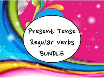 Spanish Present Tense Regular Verbs BUNDLE- PowerPoint, Wo