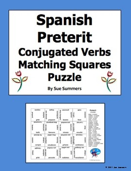 Spanish Preterit AR Verbs Conjugated 4 x 4 Matching Square