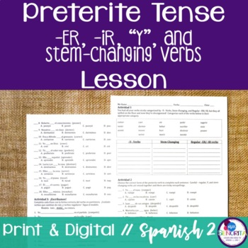 Spanish Preterite -ER, -IR, Y, and Stem-Changing Verbs Lesson