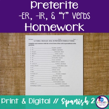 Spanish Preterite -ER/-IR and Y Verbs Homework