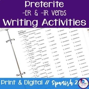 Spanish Preterite -ER & -IR Verbs Writing Exercises