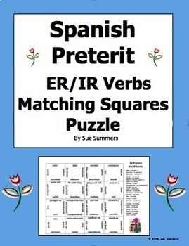 Spanish Preterit ER/IR Verbs Conjugated 4 x 4 Matching Squ