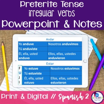 Spanish Preterite Irregular Verbs Powerpoint & Notes