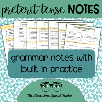 Spanish Preterite Notes, Handout with Built In Practice an