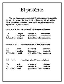 Spanish Preterite Tense Packet