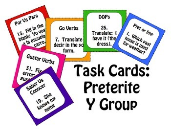 Spanish Preterite Y Group Task Cards