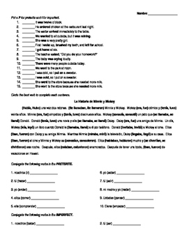 Spanish Preterite vs Imperfect Worksheet Bundle