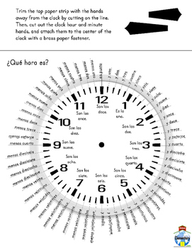 Spanish Printable Interactive Clock