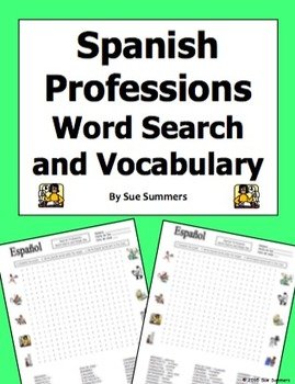 Spanish Professions Word Search Puzzle, IDs, and Vocabular