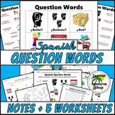 Spanish Question Words PICTURE Notes SET
