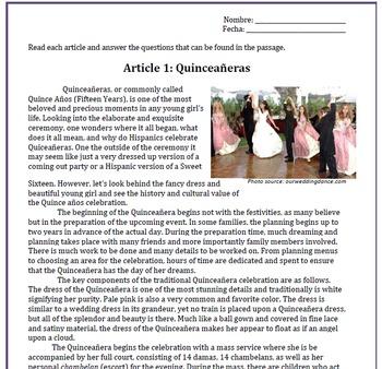 Spanish Quinceañera Sub Plan