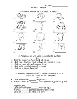 Spanish - Quiz - Clothes