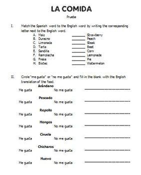 Spanish Quiz and Study Guide: La Comida