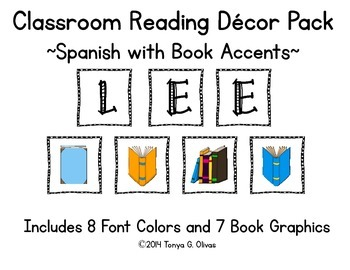 Spanish Reading Classroom Decor with Book Accent Pics