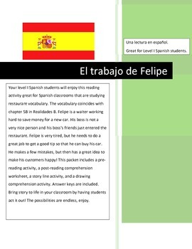 Spanish Reading & Comprehension Activities- Restaurant Voc