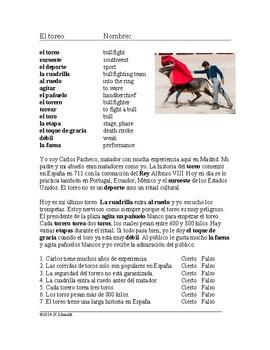 El Toreo Lectura ~ Reading on Spanish Bullfighting