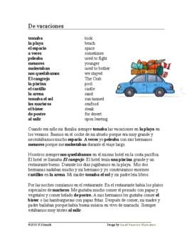 De vacaciones Lectura ~ On Vacation Spanish Reading (imperfect)
