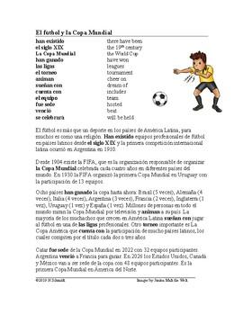 El fútbol y la Copa Mundial Lectura ~ Spanish Reading