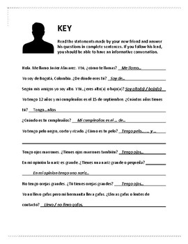 Spanish Reading and Writing Practice Activity for describi