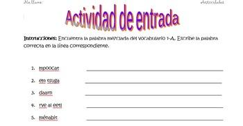 Spanish Realidades 1 1-A Vocabulary Word Scramble (11 word