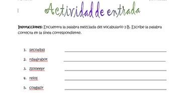 Spanish Realidades 1 1-B Vocabulary Word Scramble (11 word