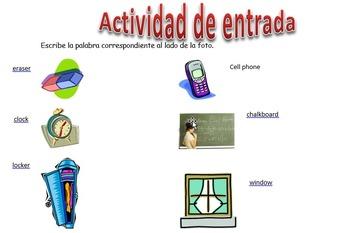 Spanish Realidades 1 2-B Vocabulary Entry Activity with 12
