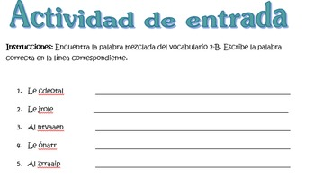 Spanish Realidades 1 2-B Vocabulary Word Scramble (11 word