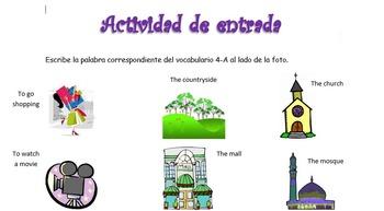 Spanish Realidades 1 4-A Vocabulary Entry Activity with 15