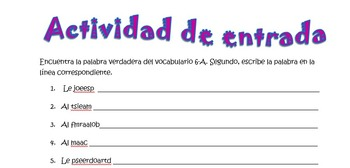 Spanish Realidades 1 6-A Vocabulary Word Scramble (10 word