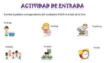 Spanish Realidades 1 8-B and 9-A Vocabulary Entry Activity