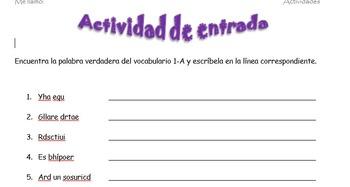 Spanish Realidades 2 1-A Vocabulary Word Scramble (11 word