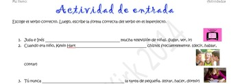 Spanish Realidades 2 4-A/4-B & Imperfect Entry Activity- C